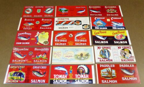 15 OLD TIN CAN LABELS VINTAGE SALMON ALASKAN CANADA PORTLAND SEATTLE 1940-70S