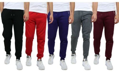 Mens Fleece Jogger Sweatpants With Zipper Pockets Slim Fit Warm Lounge Gym Nwt