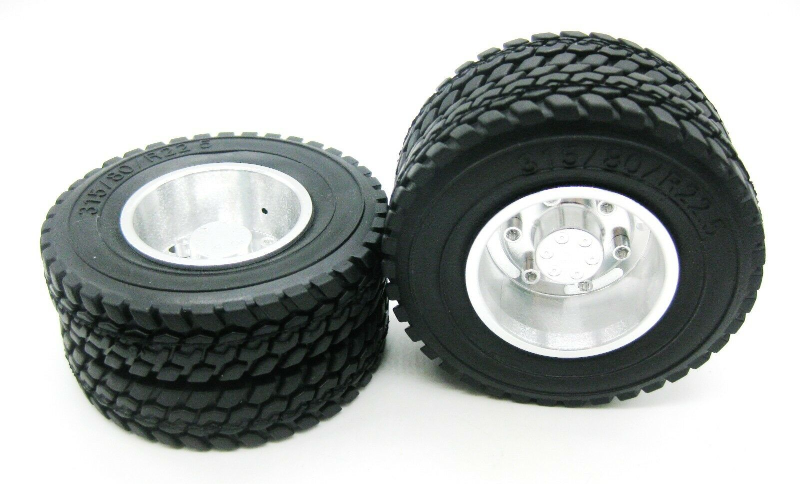2p X 1 14 Rear Aluminum Wheels Rim Tires For Rc Tamiya 1 14 Tractor Truck Silver Ebay