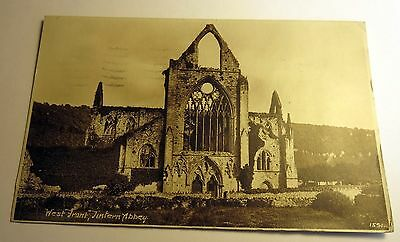 B&W Real Photo Postcard Tintern Abbey, Monmouthshire, England, UK 1928 Postmark