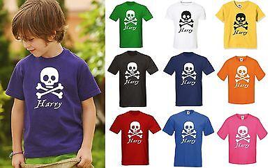 PIRATES KIDS PERSONALISED T-SHIRT ANY NAME - BOYS GIRLS Skull Crossbones Pirate](Girl Pirate Names)