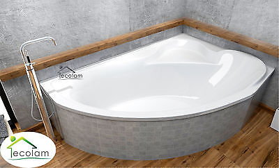 Badewanne Eckbadewanne Acryl 166 x 107 cm Füße Ablaufgarnitur Silikon rechts D