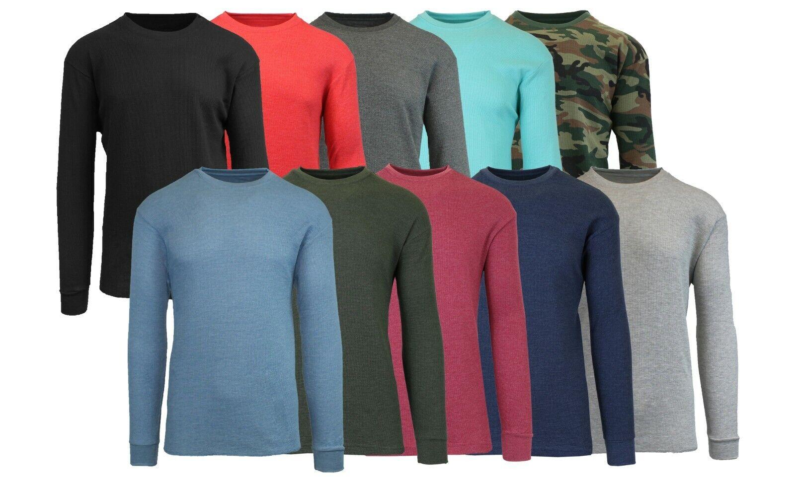 Men's Long Sleeve Waffle Thermal Shirt Tee -Crew Neck Layeri