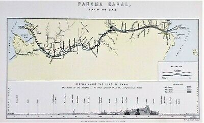 OLD ANTIQUE MAP PLAN PANAMA CANAL & RAILWAY c1900 by W M SMITH PRINTED COLOUR