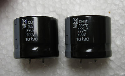 2 Panasonic 390uf 200v Xb Series Long Life 105c Snap In Electrolytic Capacitors