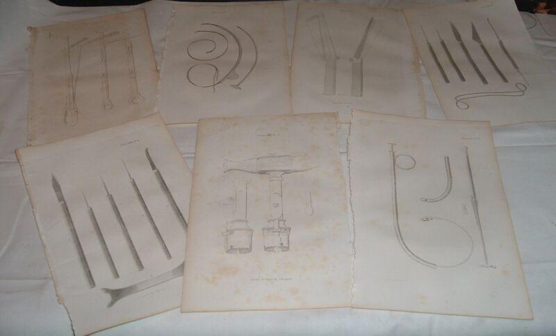 7 Antique Pre Civil War Prints Surgical Instruments 1849 trepan scalpels Drayton