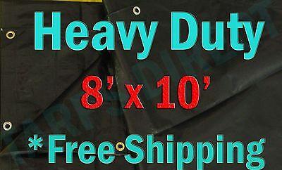 8x10 Black Heavy Duty Triage Tarps Swimming Pool Cover Shade  Boat Waterproof