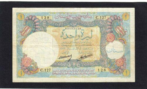 Lebanon 1 livre P-15 1939    F+