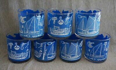 Georges Briard NAUTICAL / SAILBOAT 8 oz. ROCKS GLASSES - Set of 7 - (Nautical Glasses)