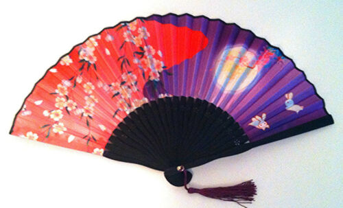 Chinese bamboo Folding Handfan Fan with Printed Plum Flower, Moon, rabbit