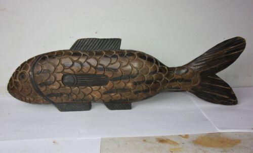 """Vintage Large Hand Carved Wood Fish Sculpture Folk Art 19"""" Long"""