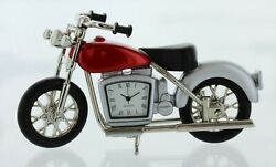 New VINTAGE Motorcycle Mini Novelty Pewter Desk CLOCK New Old Stock