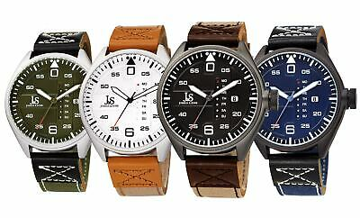 Men's Joshua & Sons JX145 Multifunction Day Date Canvas Leather Strap Watch