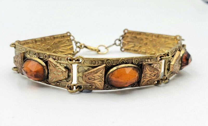 Art Deco Brass & Copper Amber Glass Rhinestone Panel Bracelet Czech