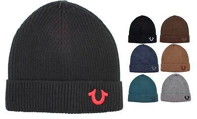 3efe47197852a True Religion Brand Jean BIG LOGO Cashmere Watchcap Ribbed Beanie Hat  TR1828 NEW