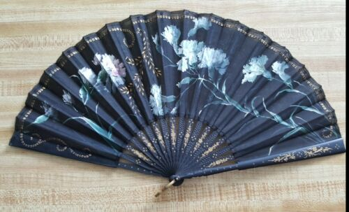 Vintage Hand Fan, Painted Carnations with Gold Spangle Design, Circa 1900
