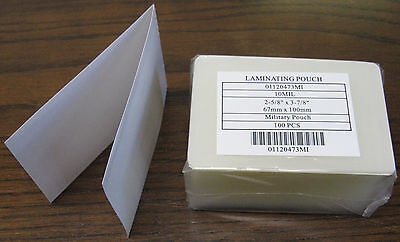 Military Card 10 Mil 2 58 X 3 78 Laminating Pouches