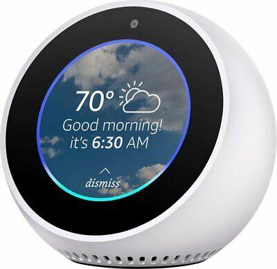 Amazon Echo Spot Smart Assistant Bedside Alarm Clock Speaker - White - VG