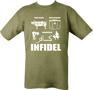 INFIDEL-T-SHIRT-BEER-DRINKING-PORK-WOMEN-SEX-BRITISH-ARMY-ENGLISH-MUSLIM-DEFENCE