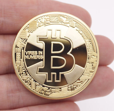 THE NEW 2018 BITCOIN PHYSICAL COLLECTIBLE COIN BTC GOLD PLATED 1 OUNCE 40MM