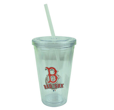 MLB Boston Red Sox Tumbler Cup Straw 16oz Water Liquid Plastic Clear Sip N Go Boston Red Sox Plastic Tumbler