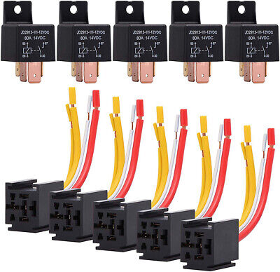 Dc 12v Car Relay Socket Harness 80a Amp 4-pin Spst Start Relay For Car Van Motor