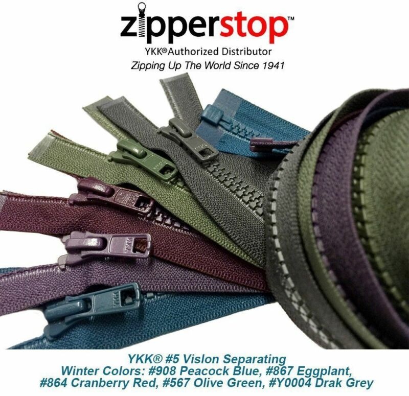 22 Inches Vislon Zipper YKK #3 Light Weight Molded Plastic Separating Made USA