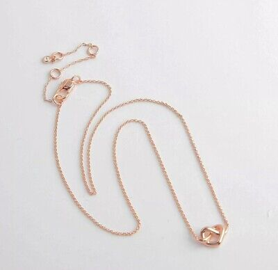 AUTHENTIC KATE SPADE LOVES ME KNOT Rose Gold Mini Pendant Necklace-$58-W/CARD!