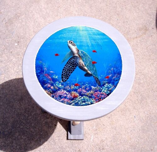 Sea Turtle hand painted wood table handcrafted painted furniture nautical decor