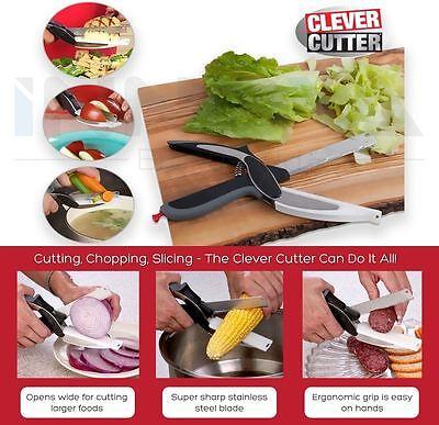 Clever Cutter 2-in-1 Kitchen Food Chopper Knife & Cutting Board Scissors Slicers 2 Food Cutter