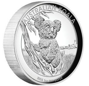 2015 Australian Koala 1 oz Dollar $1 Silver Proof High Relief Coin Australia