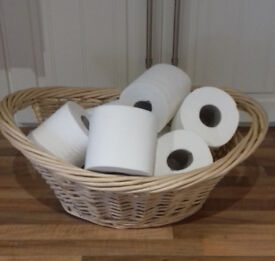 topquality expensive wicker basket toilet roll holder for bathroom with handle each side(RRP £19.99)