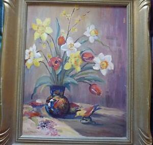"Still Life with Flowers byGeorge H. Wolfe ""Flowers"" Oil Painting"