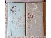 Home Decor -Set of 2 Canvases - Light Teal/ Grey. Each measures 25cm x 50cm