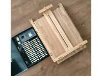 Artina Table - Box Portable Wooden Easel Excellent Condition + watercolour set