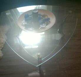 Glass coffee table with silver legs , modern , bargain