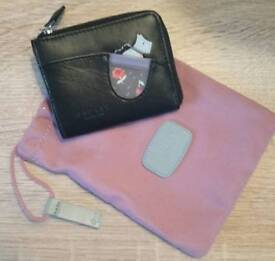 Radley Black Leather Mini Coin Purse with Dustbag