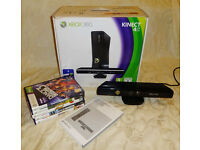 Xbox 360 Kinect Sensor and 5 games! Comes with box & Manual, Great condition!