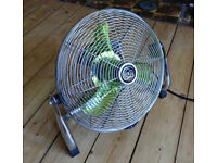 HABITAT Chrome 14 Inch 3 Speed Stylish Floor Standing Powerful Cooling Fan