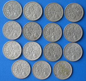 full set of Queen Elizabeth sixpences (1953-1967) 15 coins