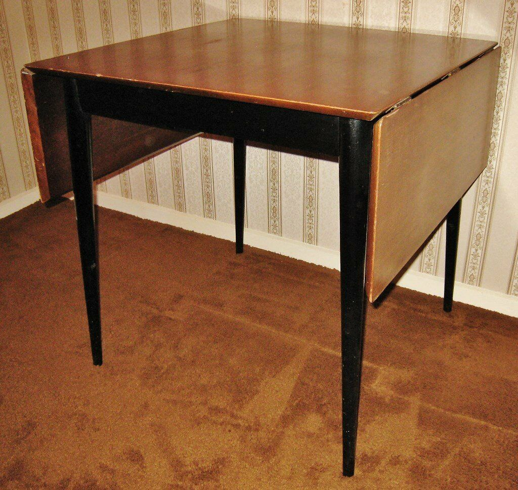 Vintage Retro 1950s60s Drop Leaf Dining Table Black  : 86 from www.gumtree.com size 1024 x 969 jpeg 212kB