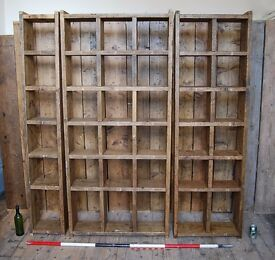 3 x PIGEON HOLES bookcase FREE DELIVERY character reclaimed wood 1 + 2 + 3 cols storage gplanera