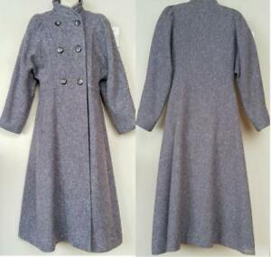 HENRY WHITE Dublin Womens Vintage Wool Tweed Coat Victorian Look Blue-Gray M 8 10 Retro Puffy shoulders sleeves