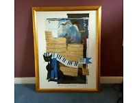 Rosina Wachtmeister Framed Print: Black cat and musical notes in quality frame 66 x 52cm