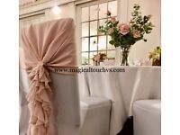 Wedding Chair Covers & Ruffles to hire. Dusky Pink, White & Navy available now
