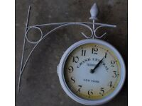 White Retro Clock NEW YORK, 2 Sides (used)