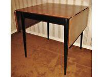 Vintage Retro 1950's/60's Drop Leaf Dining Table, Black Base & Legs, Teak Top, Brass Sprung Hinges