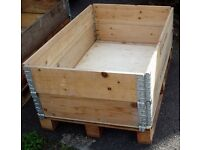 PALLET CRATE SYSTEM WOODEN - IDEAL RAISED PLANTER, LOG STORE, BULK STORAGE BOX (1 of 2)