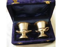 boxed set of 2 plated quaich/ bowl/ cups(?)