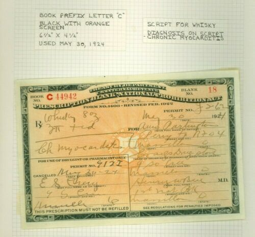 Vintage 1924 Prohibition Prescription Whisky Pharmacy Doctor Book C Rx